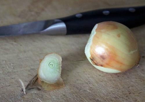обрезать луковицу